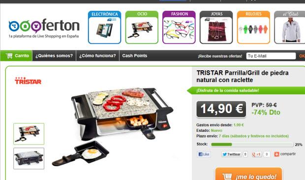 Ofertas de productos en Live Shopping a través de Oooferton