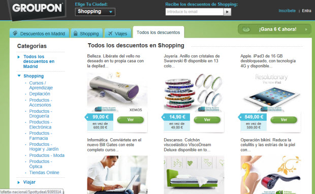 Live Shopping en Groupon