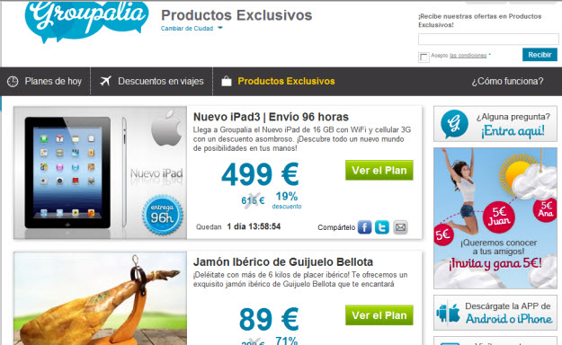 Productos outlet en Groupalia
