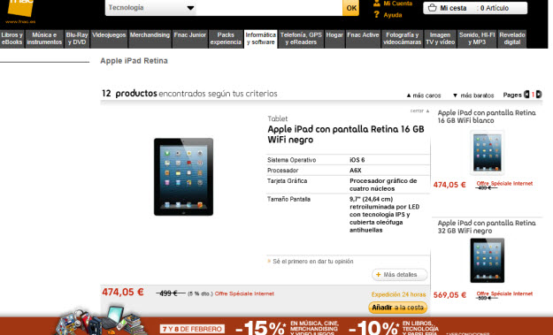 Alternativas a Comprar Apple iPad Retina 128 GB