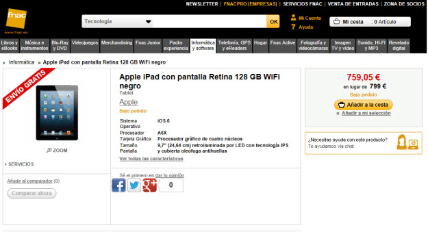 Comprar Apple iPad Retina 128 GB