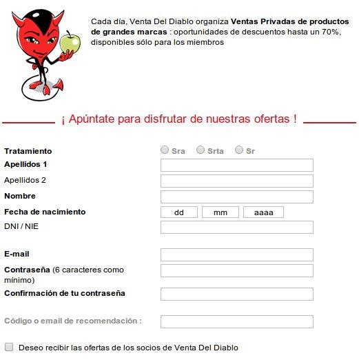 Outlet tablets y smartphones Venta del Diablo: regístrate gratis