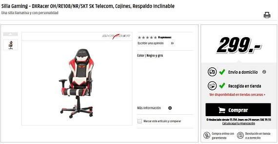 Sillas gaming online reclinables y baratas precios y ofertas for Precio sillas reclinables